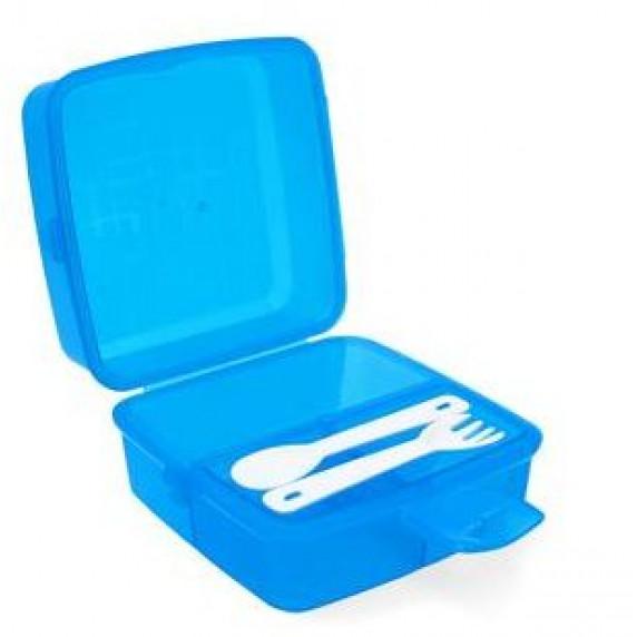 Potravinový box na občerstvení s příborem 1,4 l Inlea4Home - modrý
