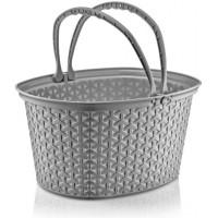 Košík s madly v ratanovém designu 12 L Inlea4Home - šedý