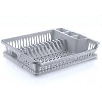 Odkvapávač na nádobí s podnosem Inlea4Home - šedý