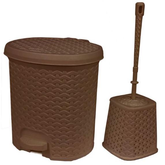 Odpadkový koš v ratanovém designu 5,5 l s WC štětkou Inlea4Home - hnědy