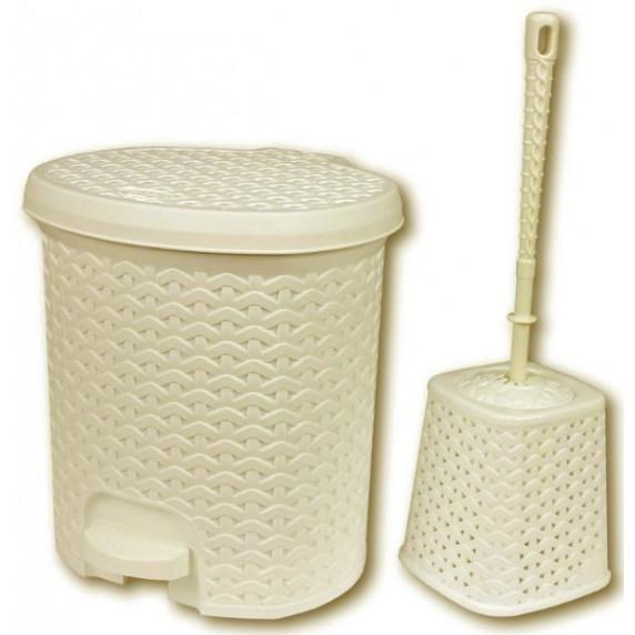 Odpadkový koš v ratanovém designu 5,5 l s WC štětkou Inlea4Home - béžový