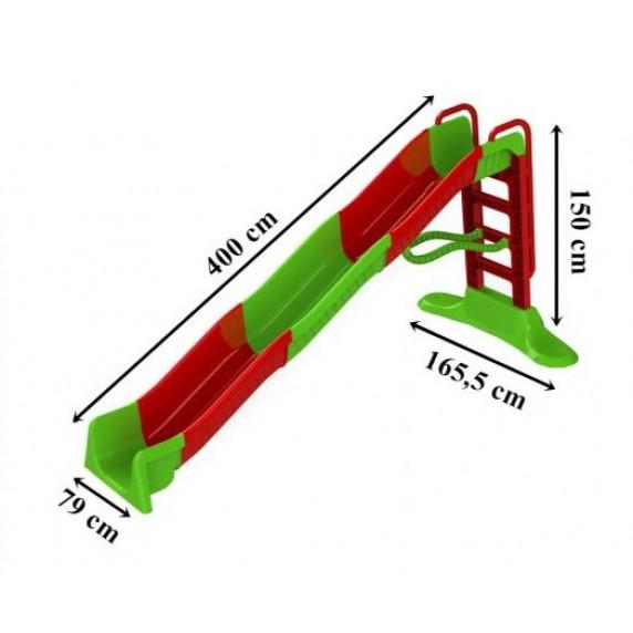Vodní skluzavka s držadlem 400 cm Inlea4Fun - červená / zelená