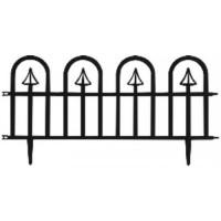 GARDEN LINE Záhradní plastový plot ČERNÝ 60 x 30,5 cm - sada 4 ks