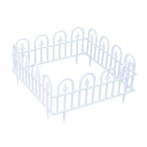GARDEN LINE Záhradní plastový plot BÍLÝ 60 x 30,5 cm - sada 4 ks