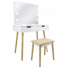 Inlea4Fun Toaletní stolek se zrcadlem a LED světlem, zásuvkami a židličkou