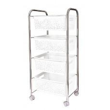 Regál na kolečkách se 4 košíky Inlea4Home - bílý Preview