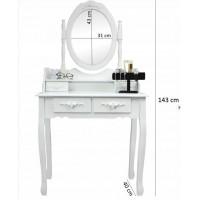Inlea4Fun držák na šperky se zrcadlem 120 cm - bílý