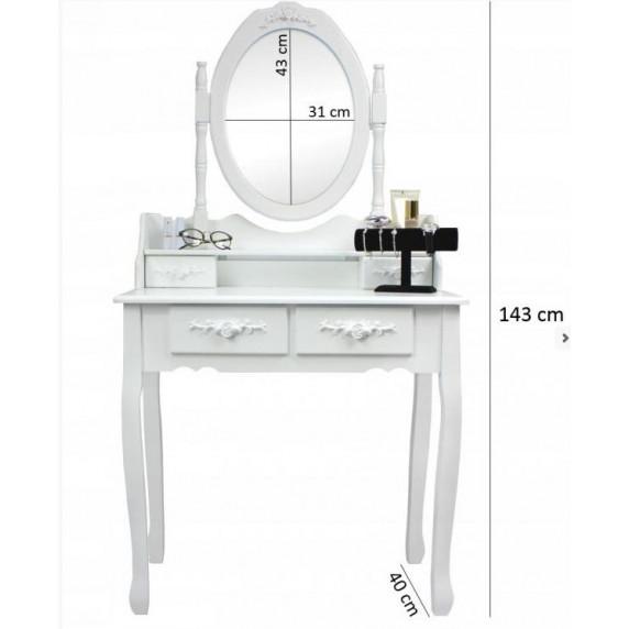 Inlea4Fun držák na šperky se zrcadlem 147 cm - bíly
