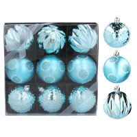 Vánoční koule 9 kusů 6 cm Inlea4Fun - modré