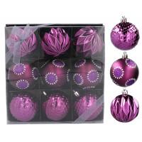 Vánoční koule 9 kusů 6 cm Inlea4Fun - fialové