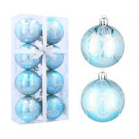 Inlea4Fun Vánoční koule 8 kusů 6 cm - Modré / kapky deště