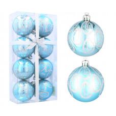 Inlea4Fun Vánoční koule 8 kusů 6 cm - Modré / kapky deště Preview