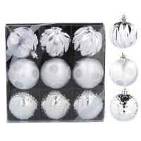 Inlea4Fun Vánoční koule 9 kusů 6 cm - stříbrné