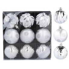 Inlea4Fun Vánoční koule 9 kusů 6 cm - stříbrné Preview