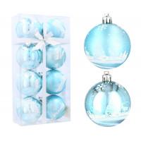 Vánoční koule 8 kusů 6 cm Inlea4Fun - Modré / jelen
