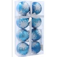 Inlea4Fun Vánoční koule 8 kusů 6 cm - Modré / Hvězda