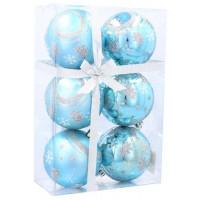 Vánoční koule 6 kusů 7 cm Inlea4Fun - Modré / stromek-hvězda