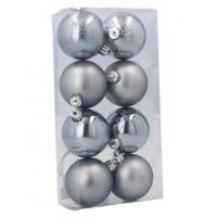 Inlea4Fun Vánoční koule 8 kusů 6 cm - stříbrné