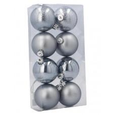 Inlea4Fun Vánoční koule 8 kusů 6 cm - stříbrné Preview