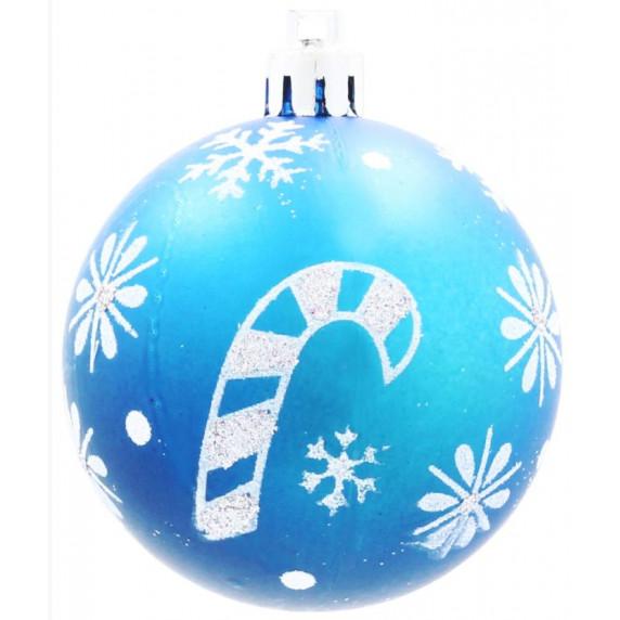 Inlea4Fun Vánoční koule 8 kusů 6 cm - Modré / Vánoční lízátko
