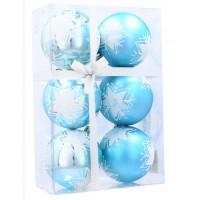 Vánoční koule 6 kusů 7 cm Inlea4Fun - Modré / Vločka