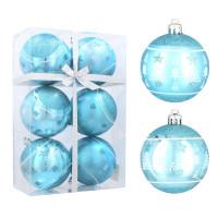 Vánoční koule 6 kusů 8 cm Inlea4Fun - Modré / stromek-hvězda