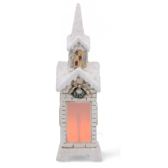 Inlea4Fun Zasněžený lucerna kostel 45 cm s LED světlem