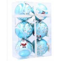 Vánoční koule 6 kusů 7 cm Inlea4Fun - Modré / Santa Klaus