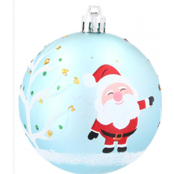 Inlea4Fun Vánoční koule 6 kusů 7 cm - Modré / Mikuláš