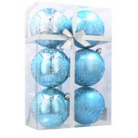 Vánoční koule 6 kusů 8cm Inlea4Fun - Bílé-Modré / Sněhová vločka
