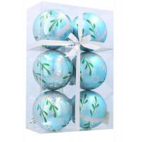 Vánoční koule 6 kusů 8 cm Inlea4Fun - Modré / Vánoční větvička