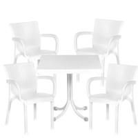 Set ratanového zahradního stolu a 4 židlí InGarden - bílá
