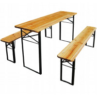 Ingarden Skládací turistický stůl 177 x 46 x 77 cm + 2 lavice 177 x 23 x 47 cm