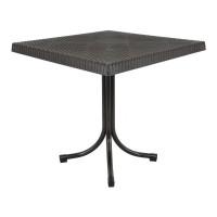 Ratanový zahradní stůl InGarden 80x80x73 cm 6437 - hnědý