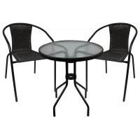 Ingarden zahradní sestava BISTRO stůl + 2 židle tmavohnědá