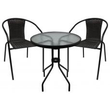Ingarden zahradní sestava BISTRO stůl + 2 židle tmavohnědá Preview