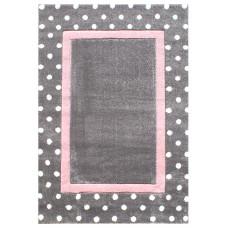Dětský koberec Tečky stříbrná-šedá/růžová Dots Preview