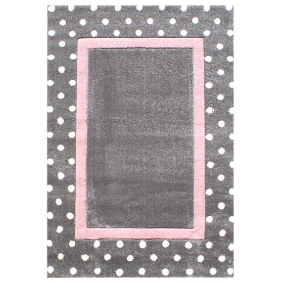 Dětský koberec Tečky stříbrná-šedá/růžová Dots