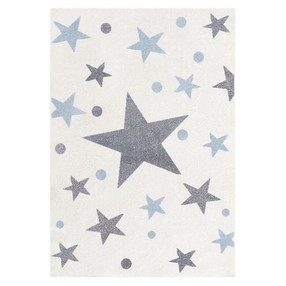 Dětský koberec STARS krémová/modrá 100 x 160 cm