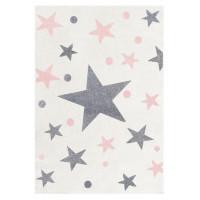 Dětský koberec STARS krémová/růžová 120 x 180 cm