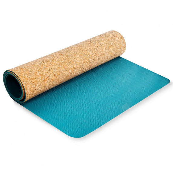 Spokey SAVASANA jóga podložka na cvičení korková 4 mm - tyrkysová