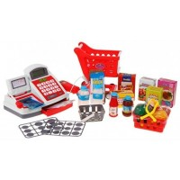 Inlea4Fun Cash Shop Nákupní košík s pokladnou - červený