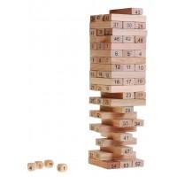 Inlea4Fun Wood Toys Jenga dřevěná společenská hra