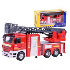 Inlea4Fun CAST MODEL hasičské auto s výsuvným žebříkem + zvukové a světelné efekty Preview