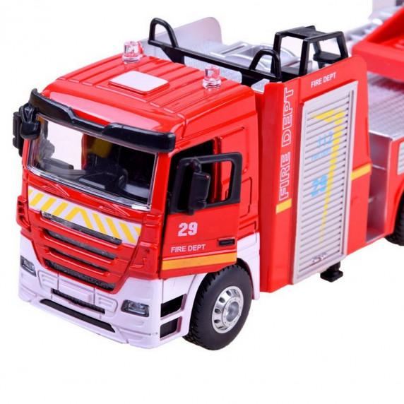 Inlea4Fun CAST MODEL hasičské auto s výsuvným žebříkem + zvukové a světelné efekty