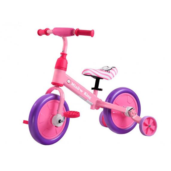 Inlea4Fun Dětské cykloodrážedlo 3 v 1 - růžová