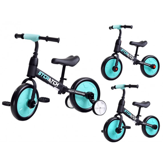 Inlea4Fun Dětské cykloodrážadlo 3 v 1 Stcratck - modré
