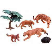 Inlea4Fun Leopardí rodina figurky