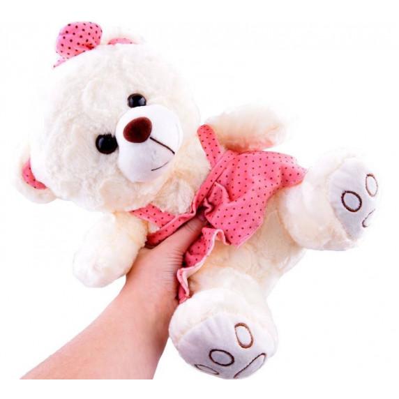 Inlea4Fun Plyšový medvídek v sukýnce 30 cm - bílý