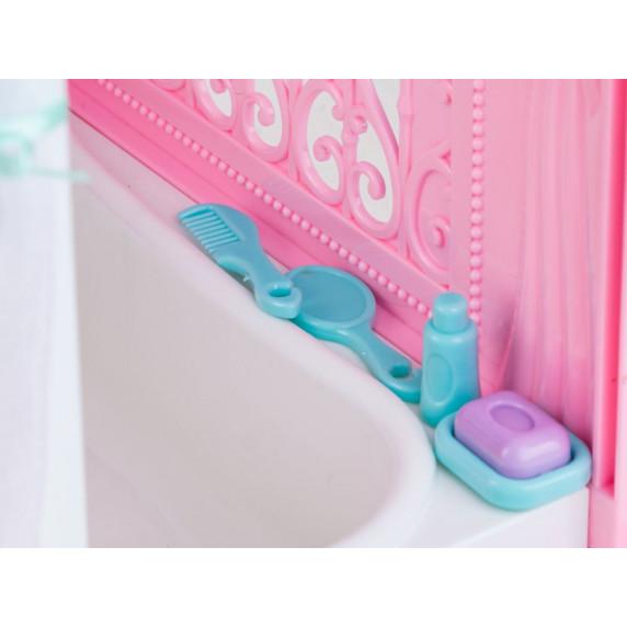 Rozkladací domeček na kolečkách s panenkou Inlea4Fun Anlily DREAM BEDROOM